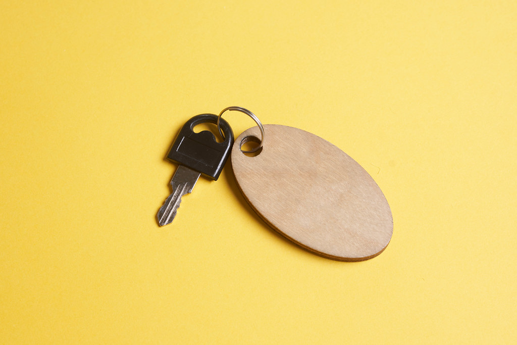 Keys of luggage storage with wooden tag