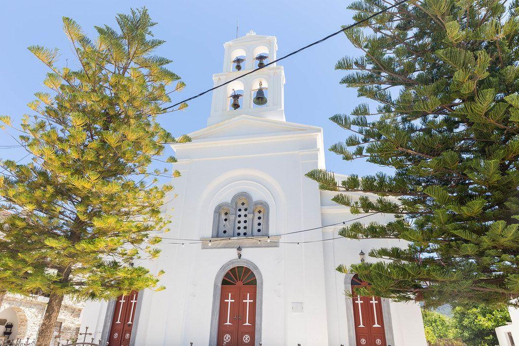 Kiefern vor dem Eingang der Kirche Panagia Protothronos in Halki, Naxos, Griechenland