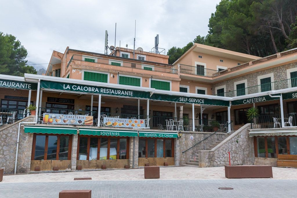 La Calobra self-service restaurant and café in the village of Port de Sa Calobra, Majorca. Outside view