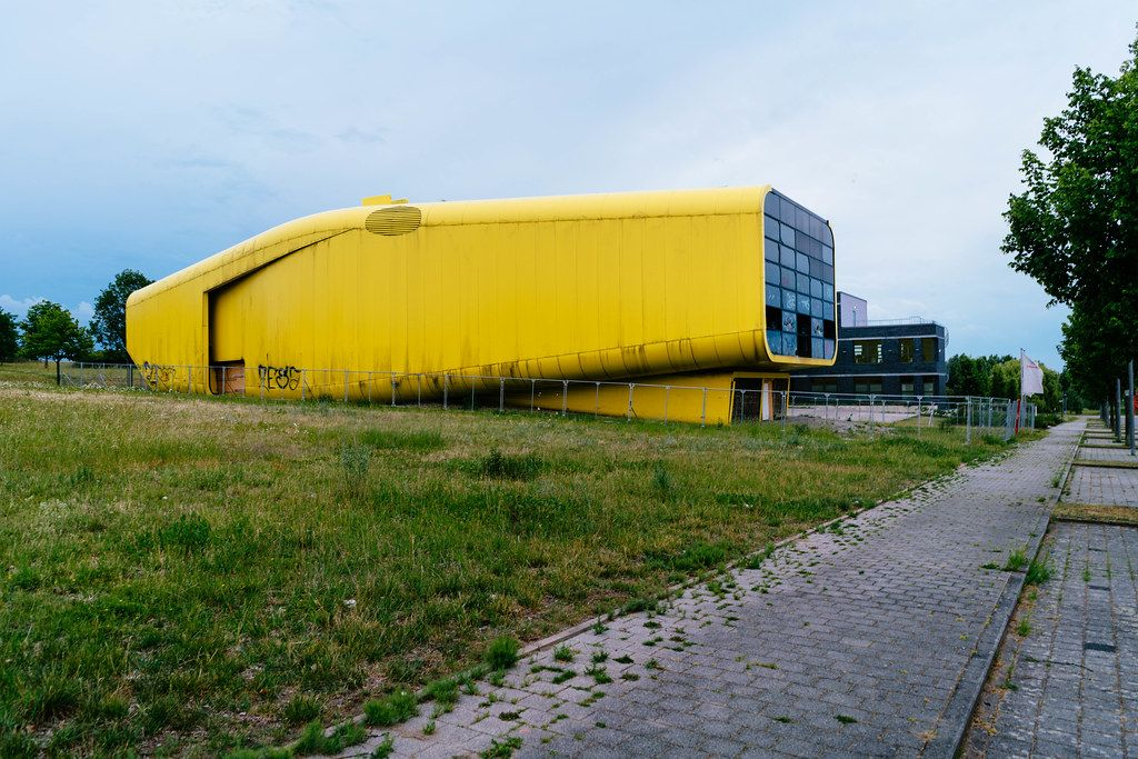 Latvian pavilion leftover from Expo 2000 in Hannover reminding visually a Yellow Submarine