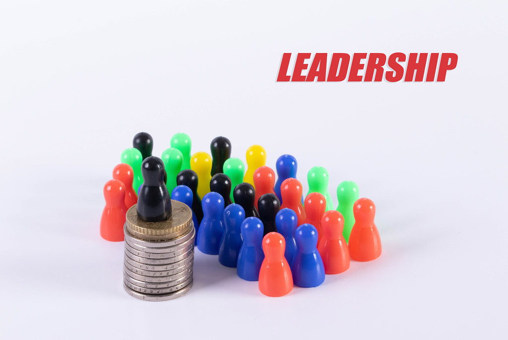 Leadership concept with pawn figures