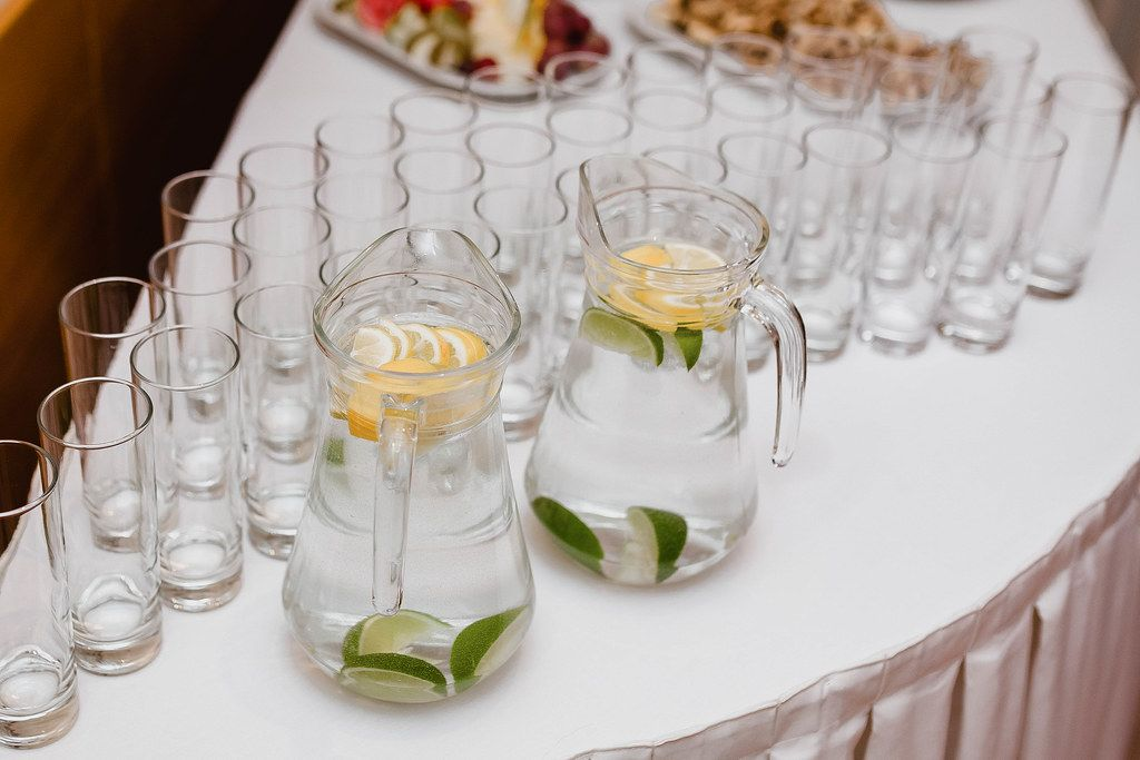 Lemon Water Glasses Served