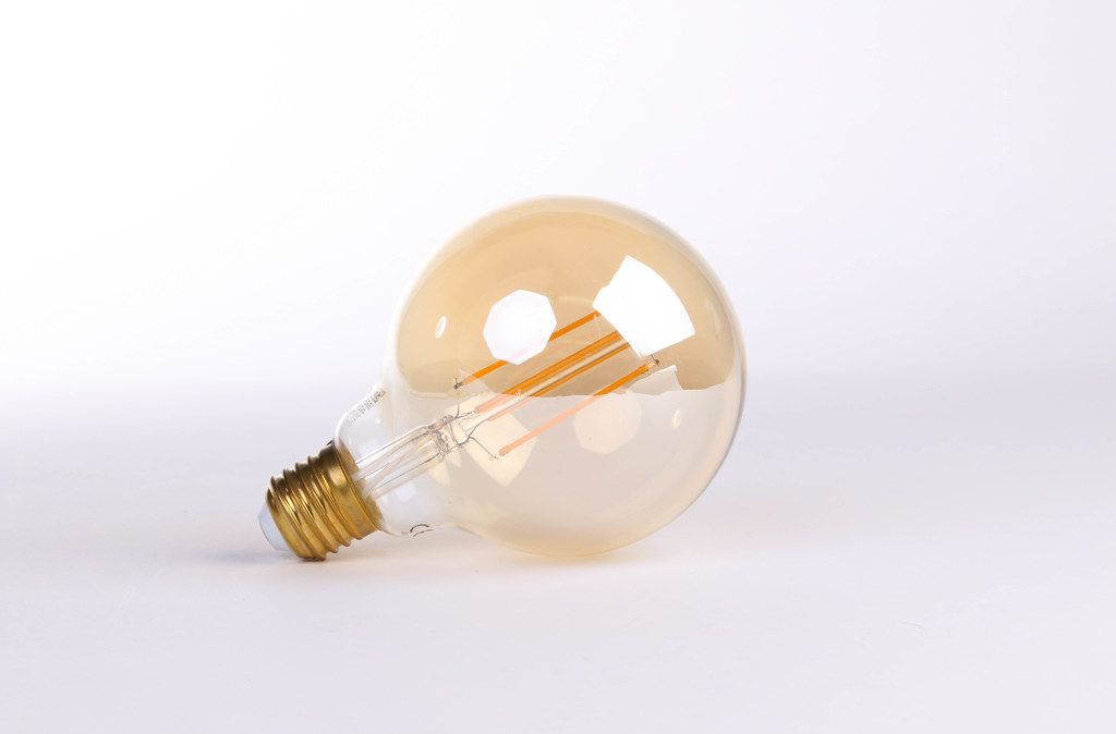 Lightbulb on a white table