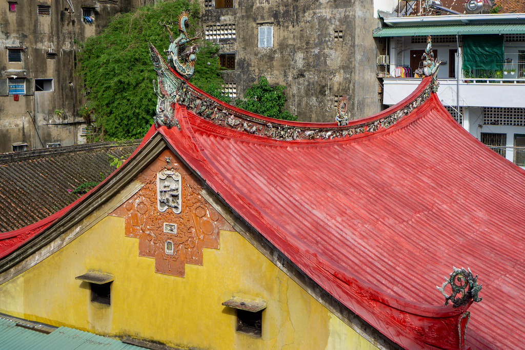 Local Houses around Thien Hau Temple in the Middle of Chinatown in Ho Chi Minh City, Vietnam