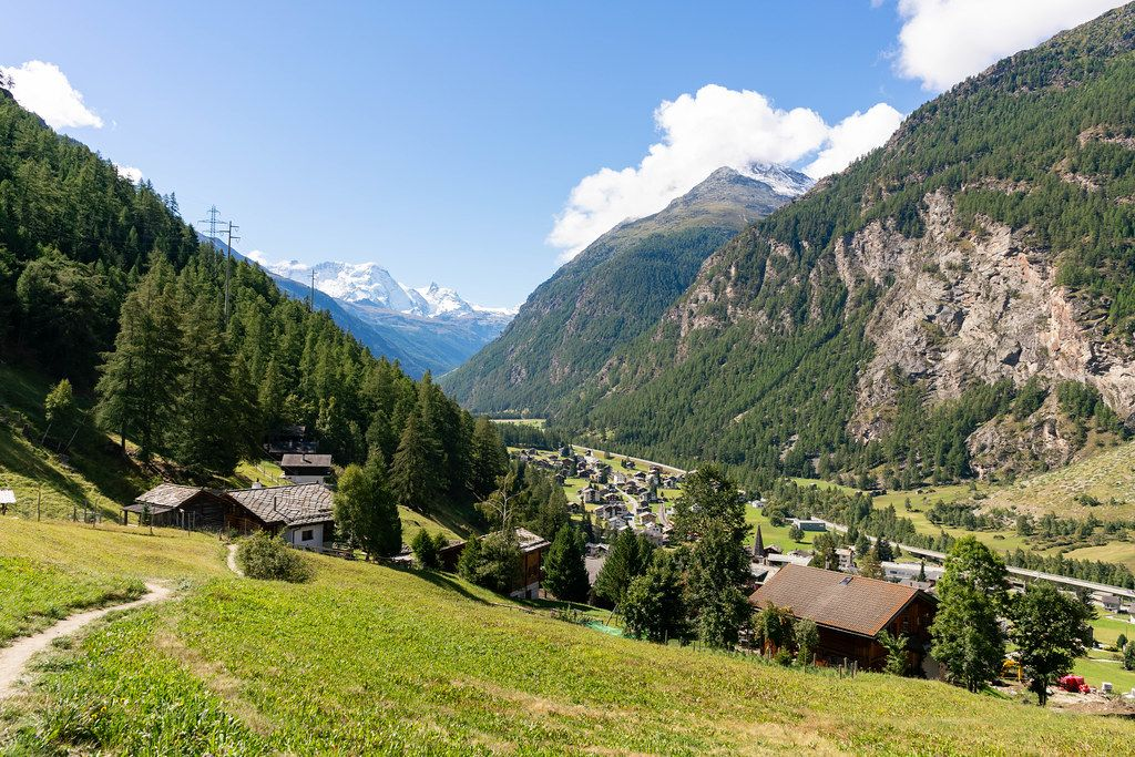 Look at Swiss village Randa in the Alps