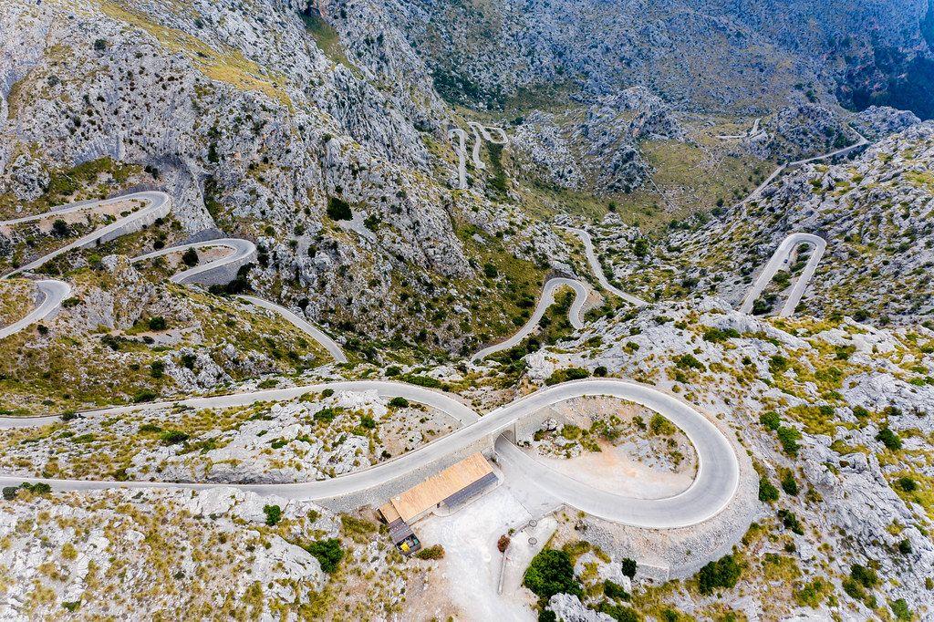 Luftbild vom Nus de Sa Corbata (Krawattenknoten), Carretera de Sa Calobra (MA-2141) auf Mallorca