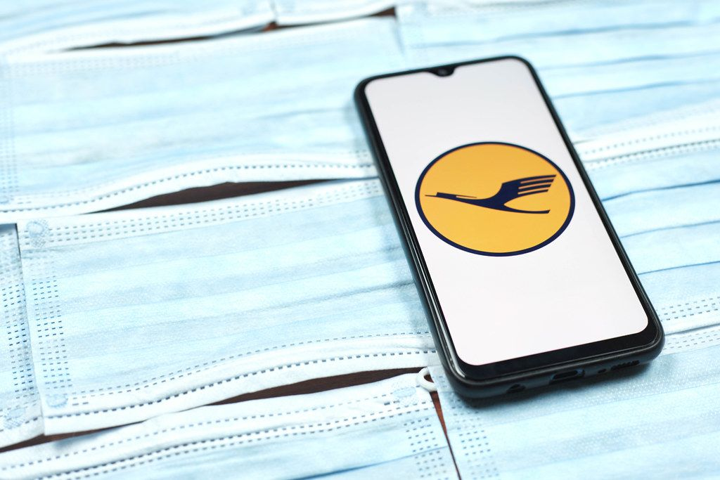 Lufthansa - German airline logo on smartphone screen