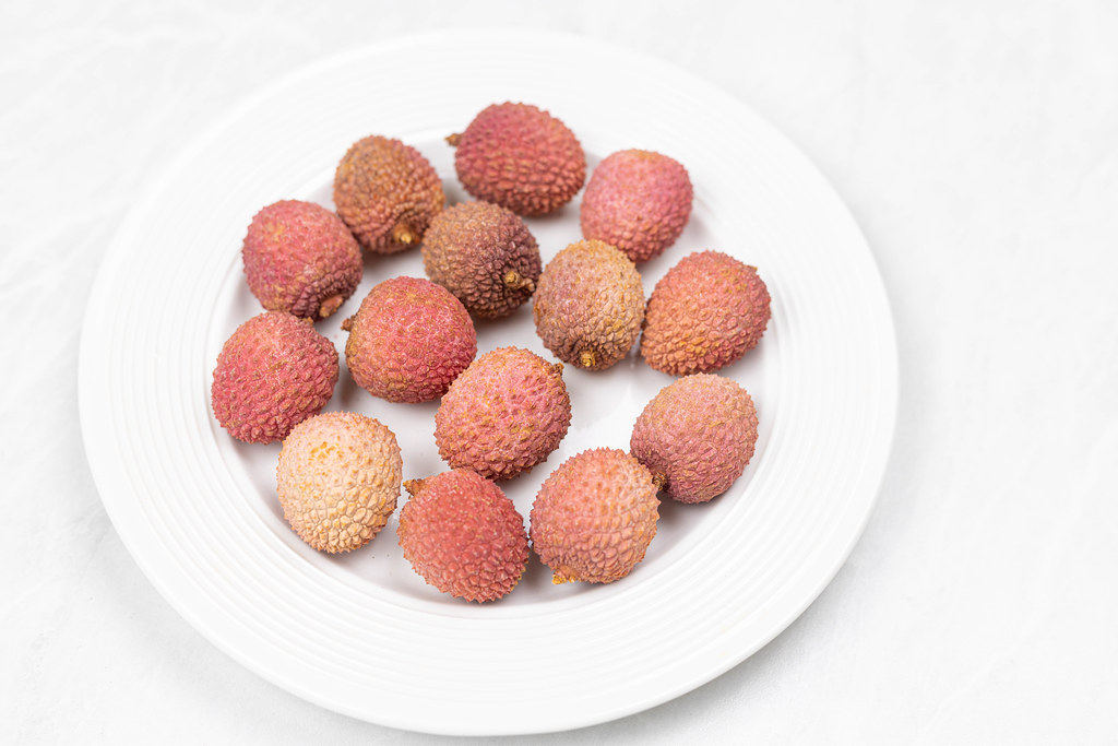 Lychee fruit served on the plate