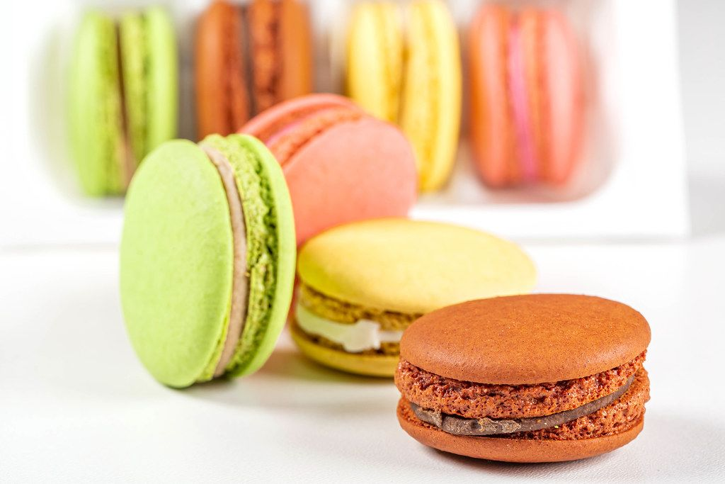 Macaroons on the white background