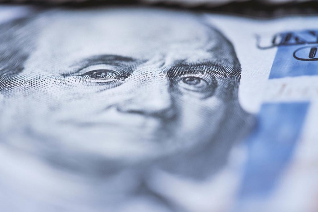 Macro shot of a 100 us dollar banknote