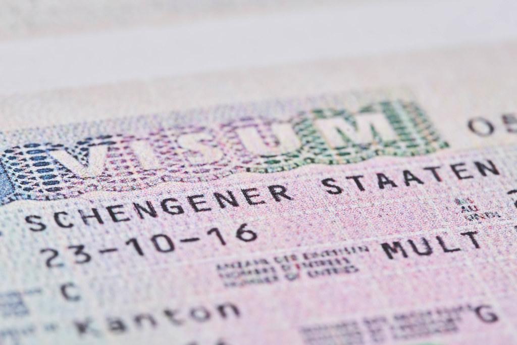 Macro shot of Schengen visa