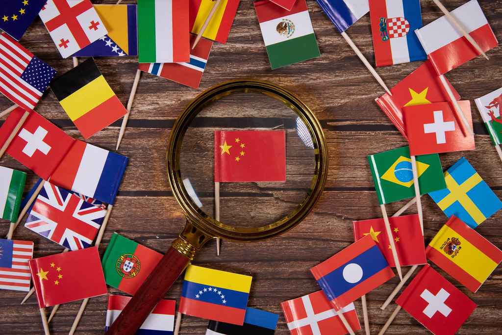 Magnifying glass on the flag of China