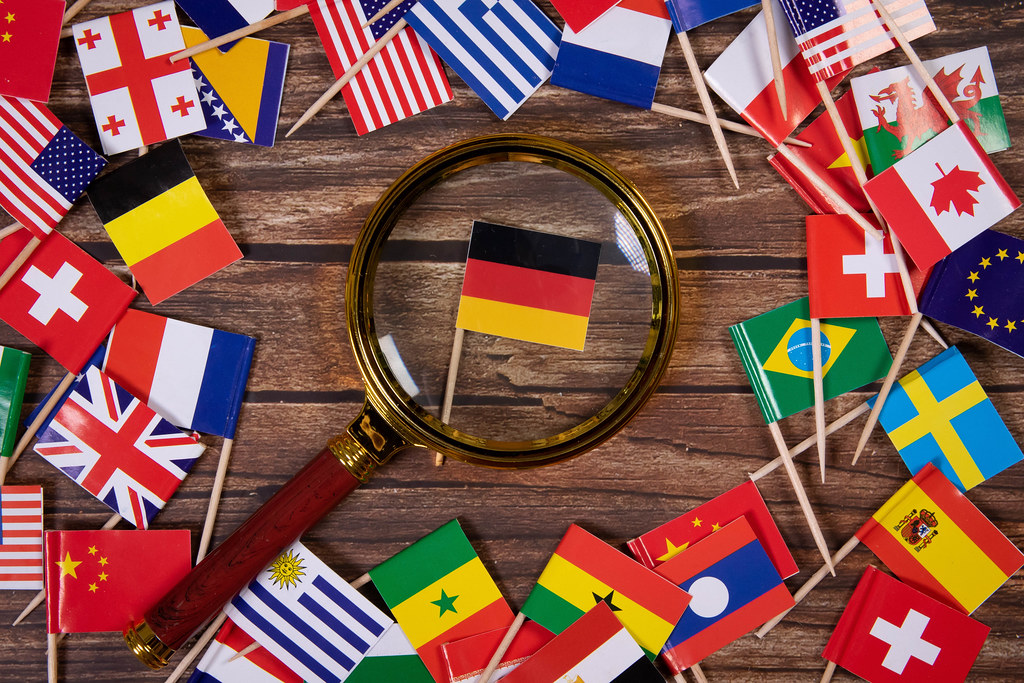 Magnifying glass on the flag of Germany