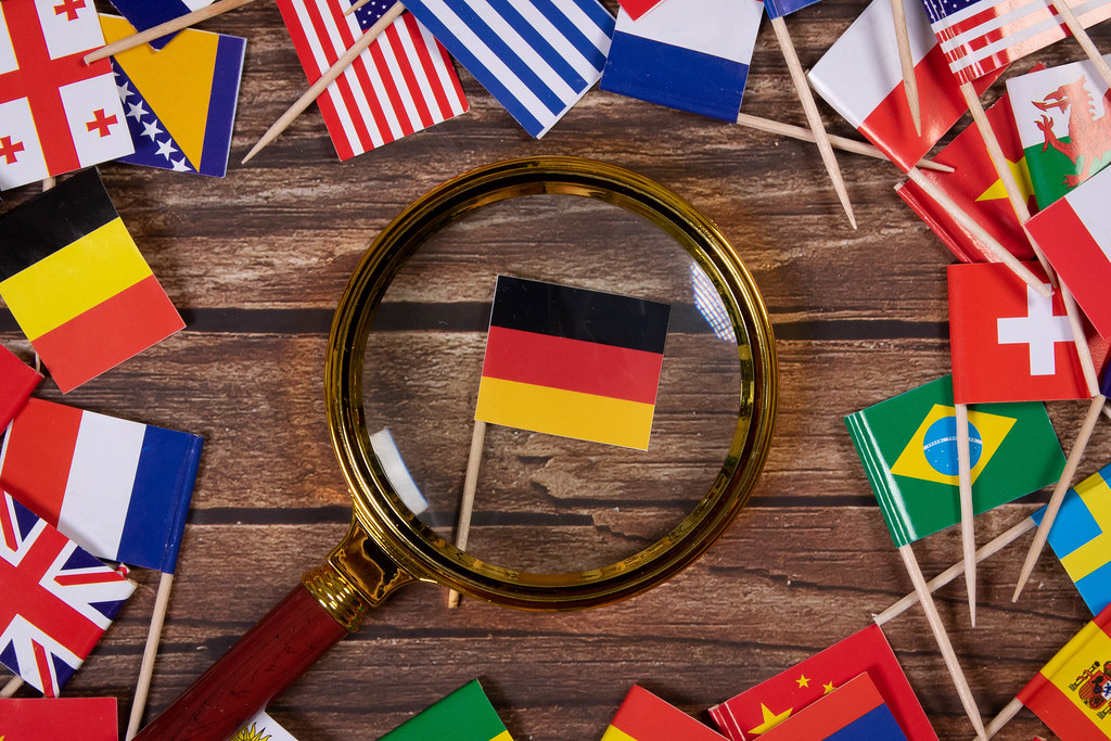 Magnifying glass on the flag of the Germany