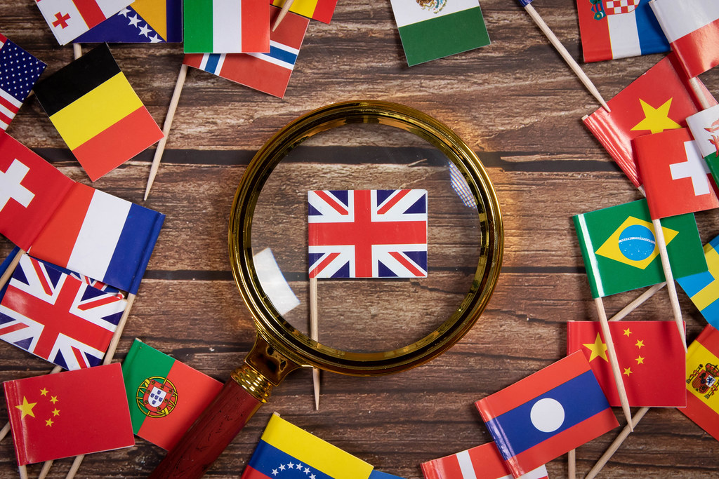 Magnifying glass on the flag of United Kingdom