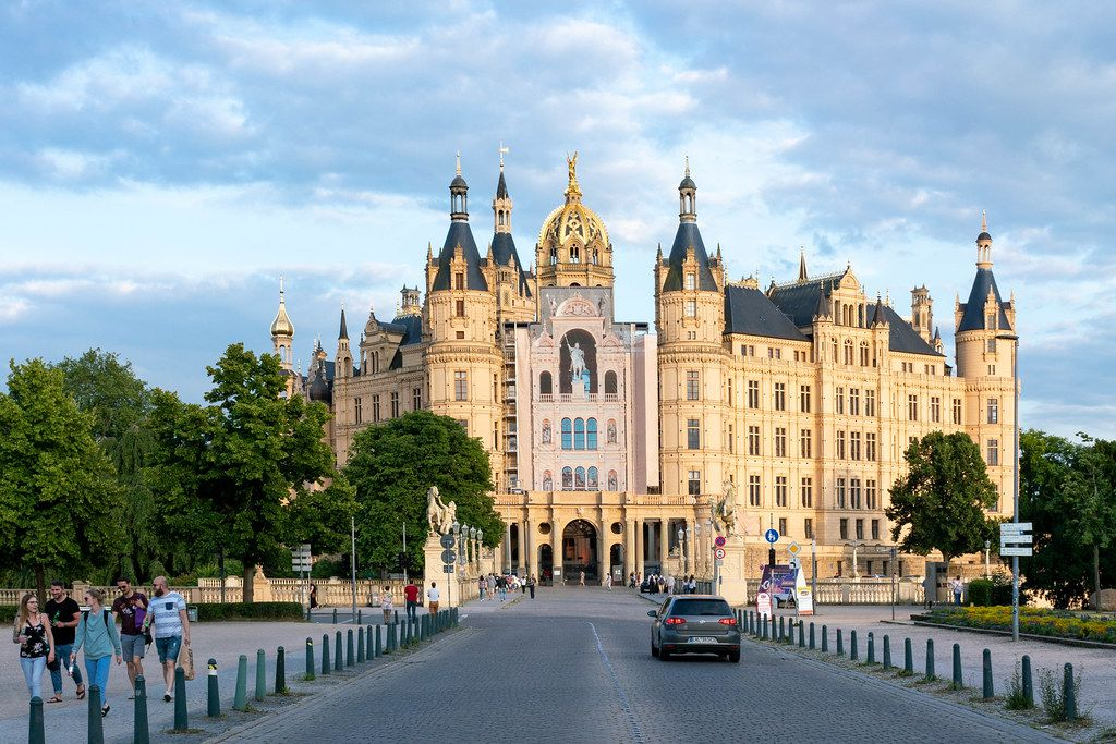 Main entrance to the Schwerin Castle with bridge and the road in front of it
