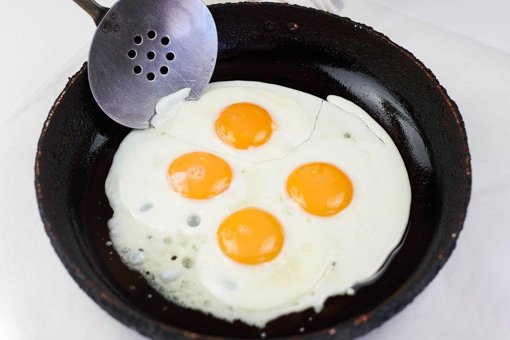 Making breakfast with fresh eggs