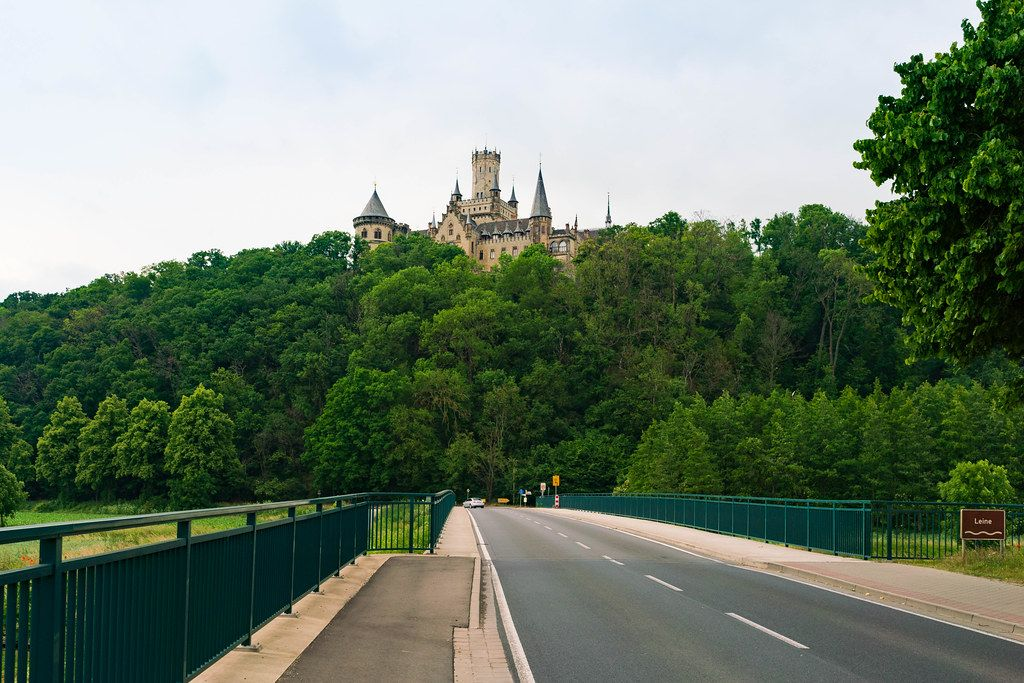 Marienburg castle overlook the river Leine and the road in Pattensen, Germany
