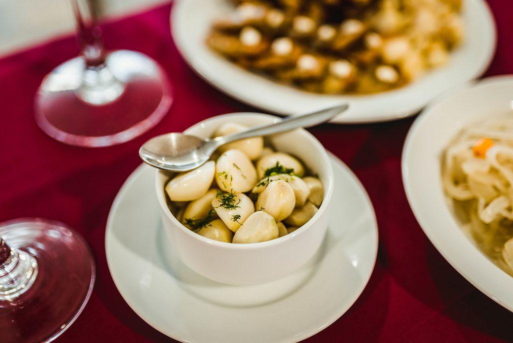 Marinate Garlic In White Bowl