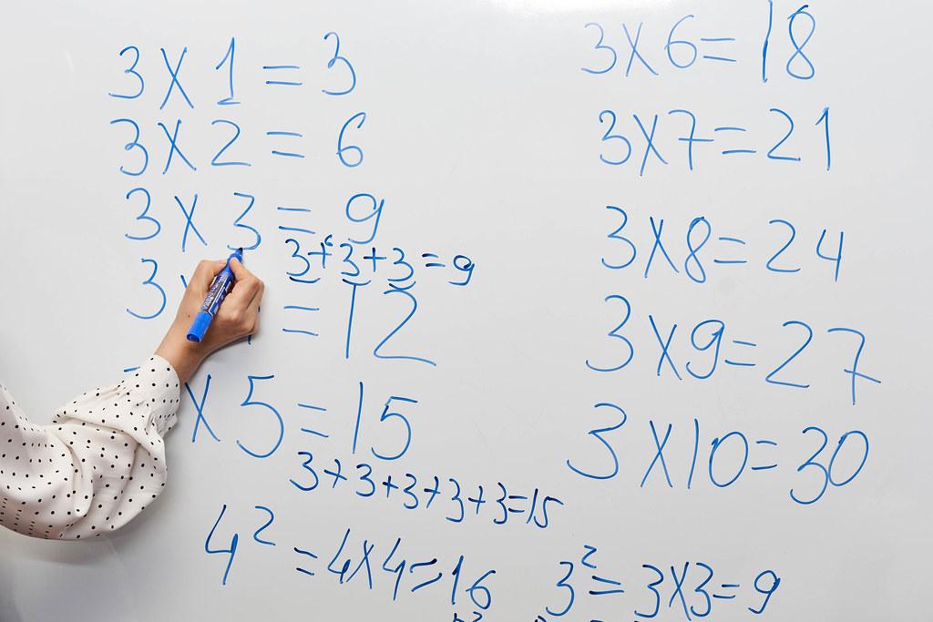 Math teacher teaching multiplication