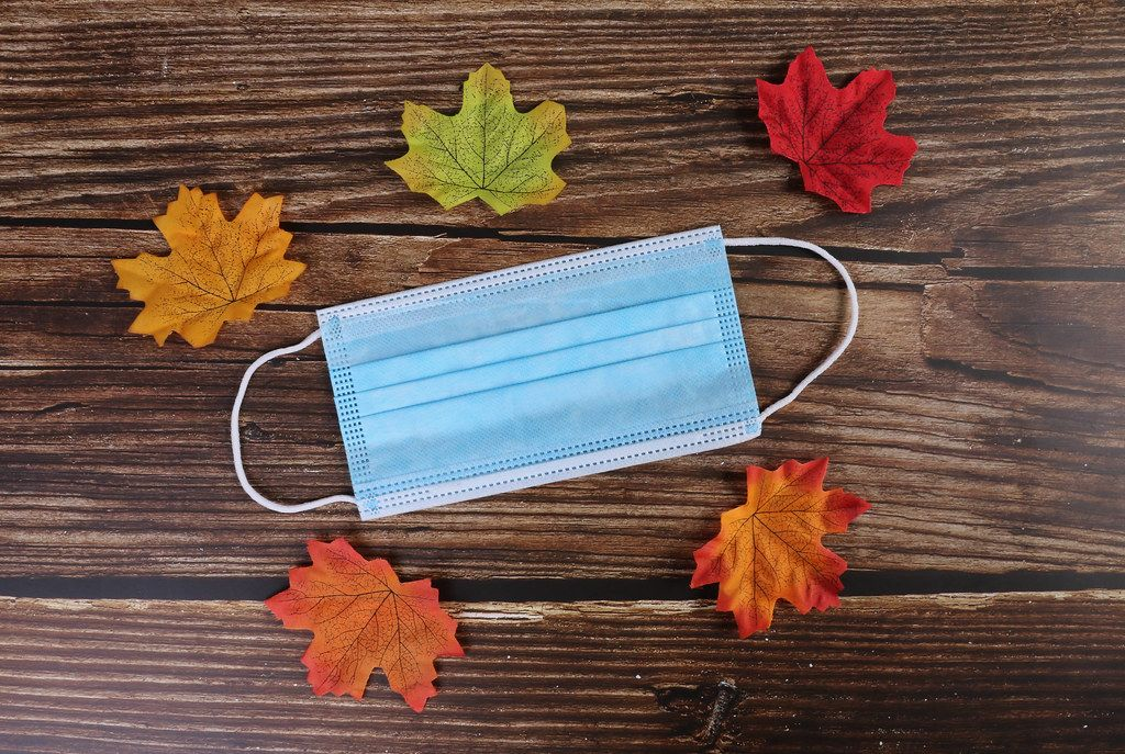 Medical face mask with autumn leaves