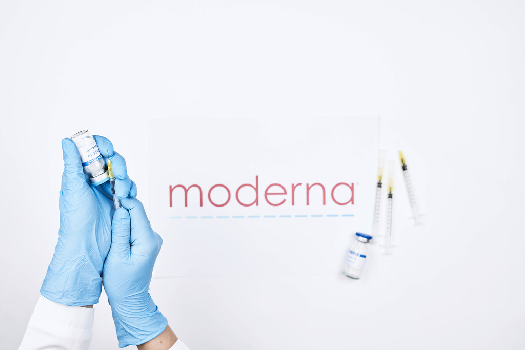 Medical worker preparing Covid-19 mRNA vaccine from Moderna