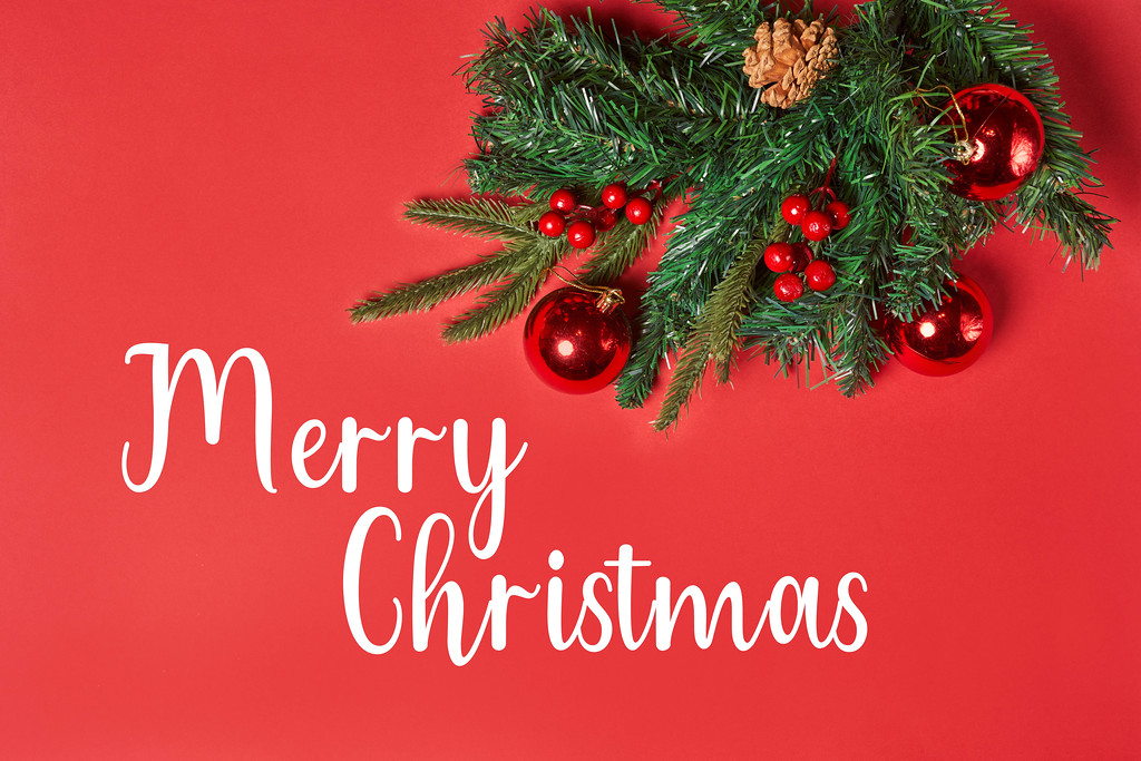 Merry Christmas card on red background
