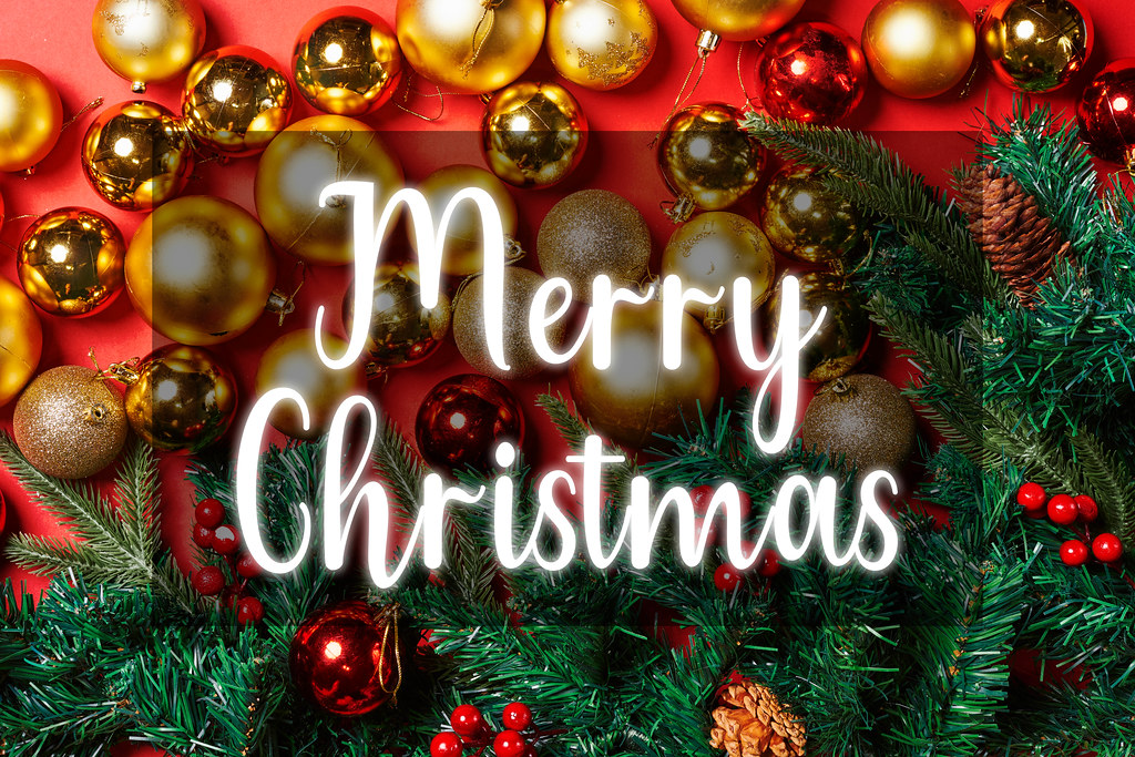 Merry Christmas - Christmas decorations on red background