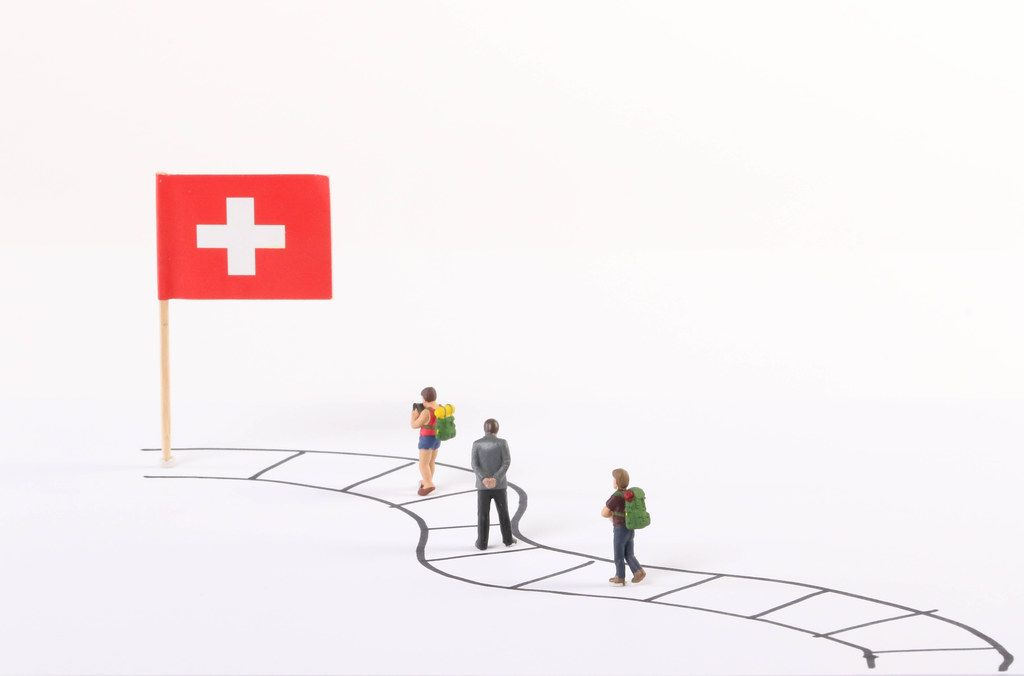 Miniature people walking on a path to the flag of Switzerland