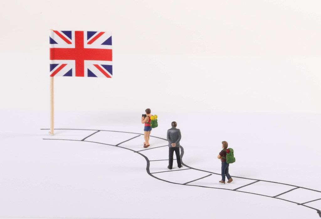 Miniature people walking on a path to the flag of United Kingdom