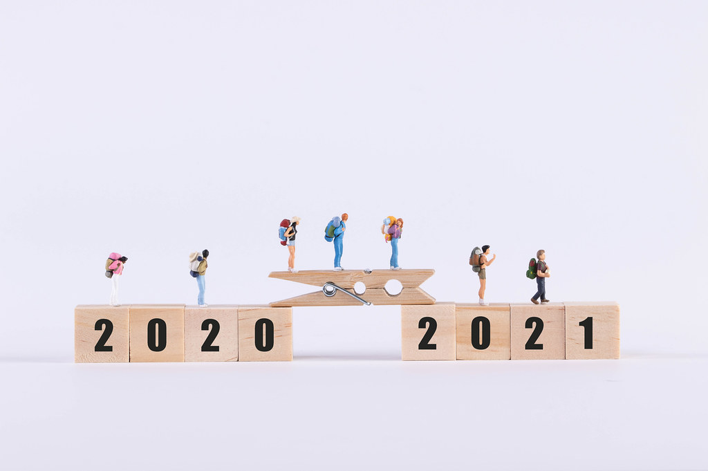 Miniature travelers walking on wooden bridge between 2020 and 2021 text on white background