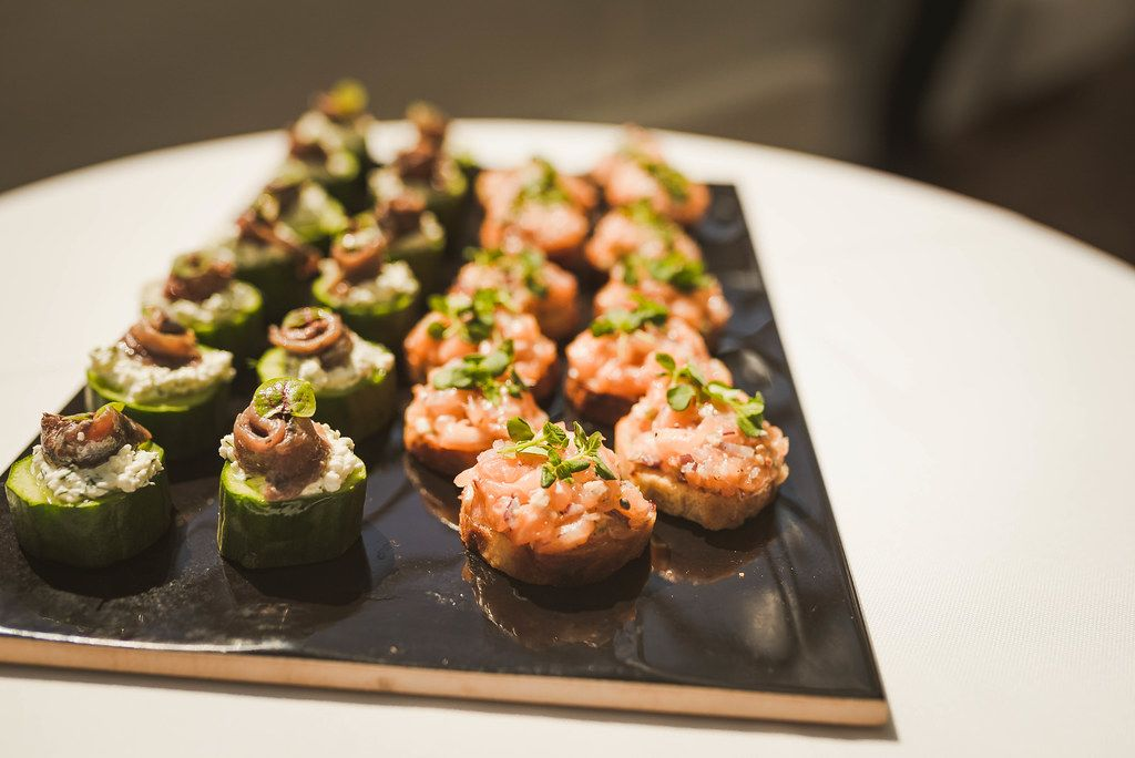 Mix Of Fish Canape Appetizers WIth Veggies