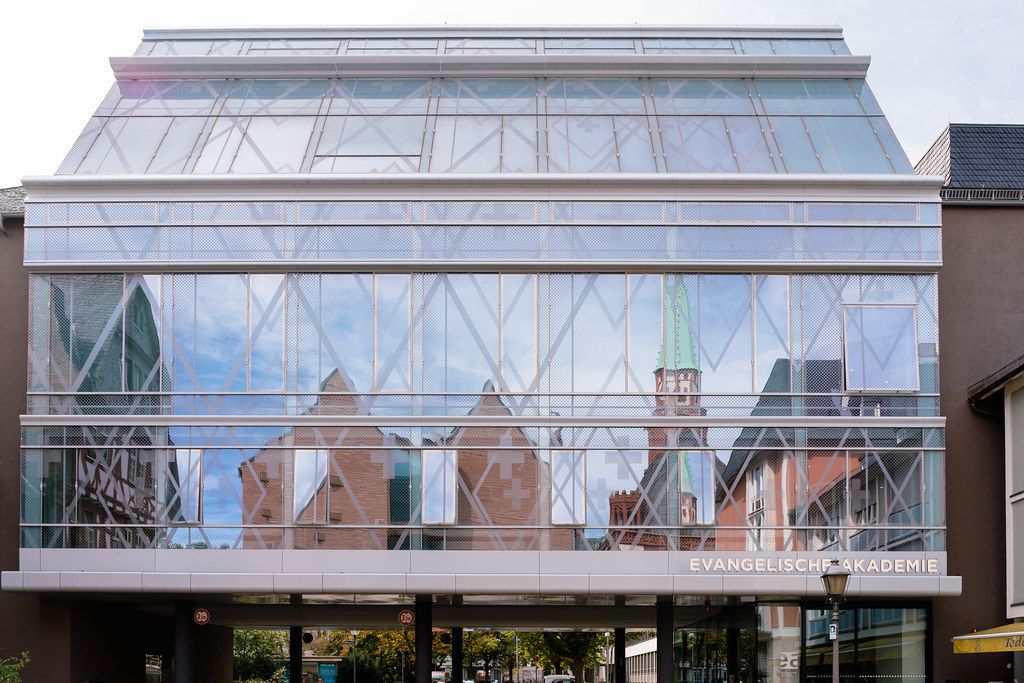 Modern glass building of evangelic academy in Frankfurt, Germany