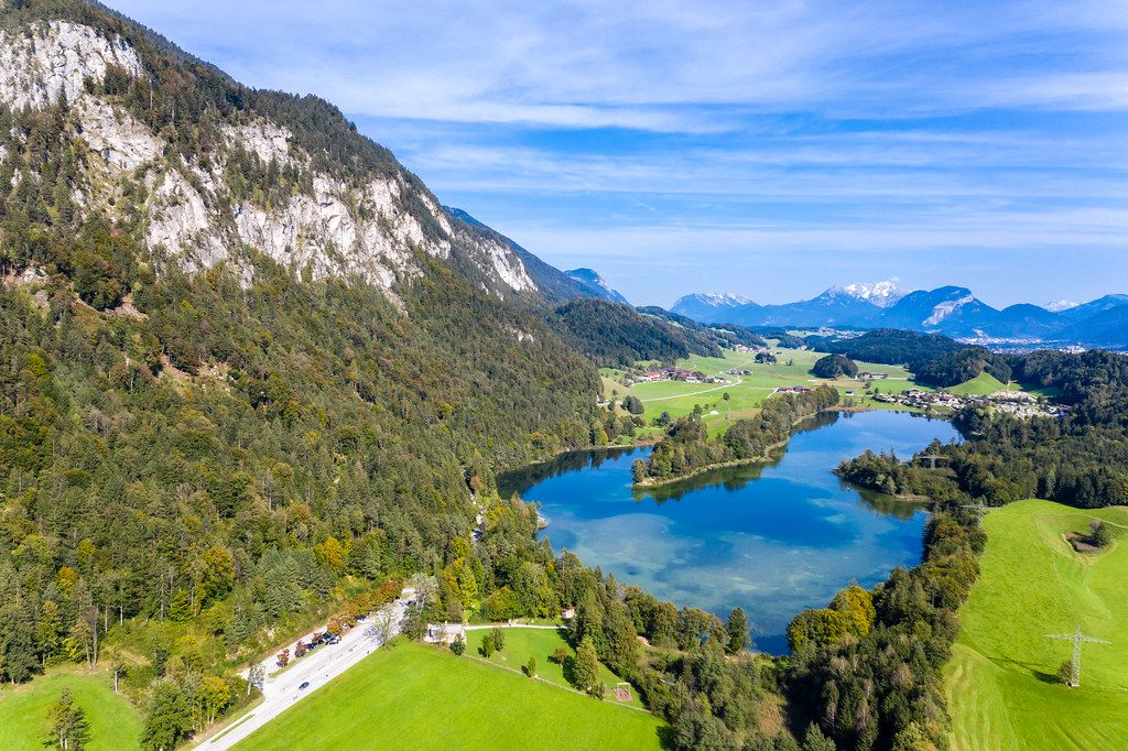 Mountain landscape rich in waters in the Brandenberg Alps in Tyrol. Reintal Lake from above
