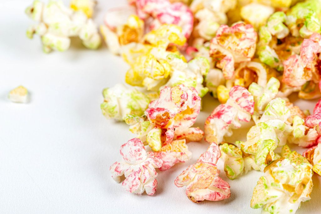Multi-colored fruit popcorn, close up