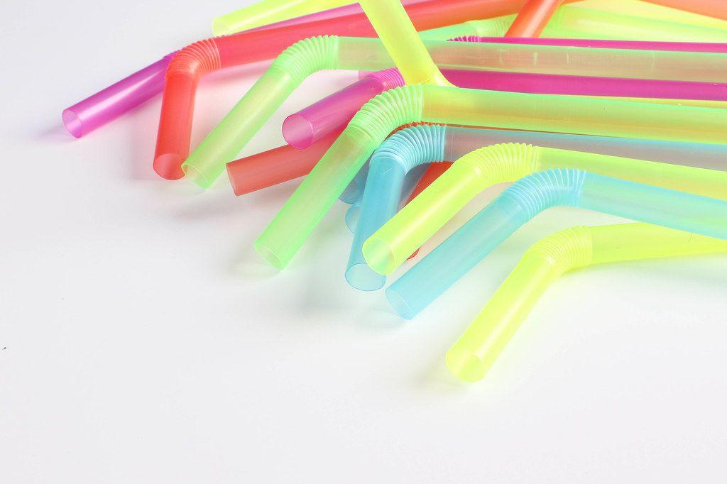 Multicoloured plastic drinking straws