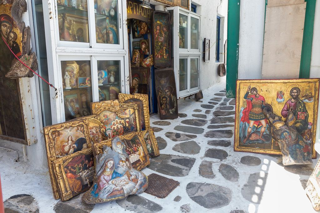 Mykonos, Greece: art shop selling Christian paintings with golden and wooden frames