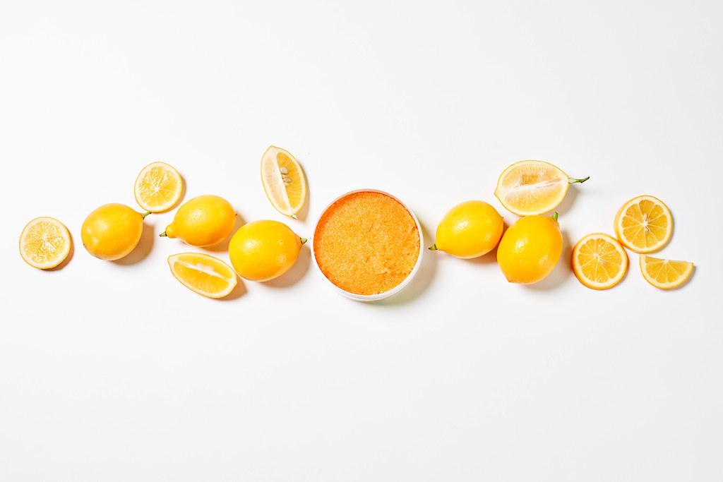 Natural cosmetics - homemade body scrub with lemons