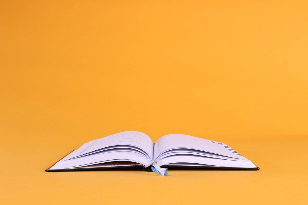 New open book on orange background