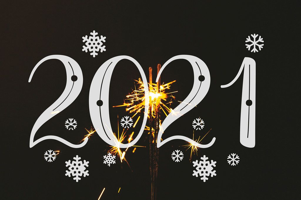 New year 2021 with sparkler on black background