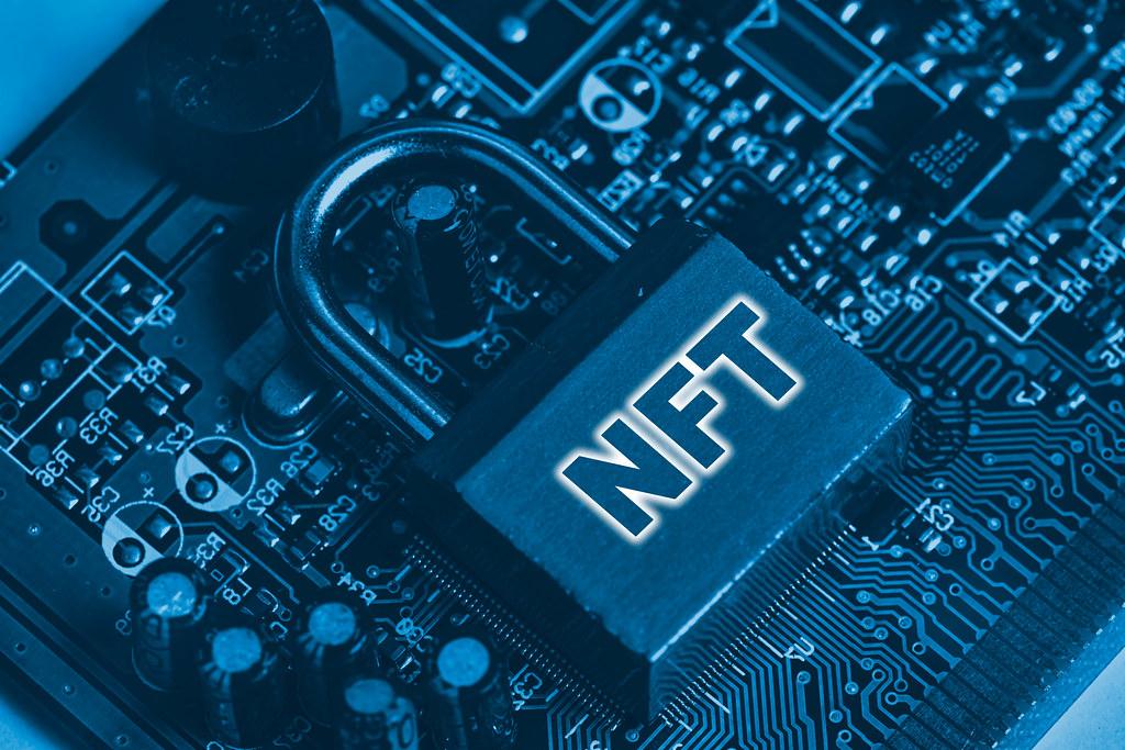 NFT on metallic lock - non fungible tokens