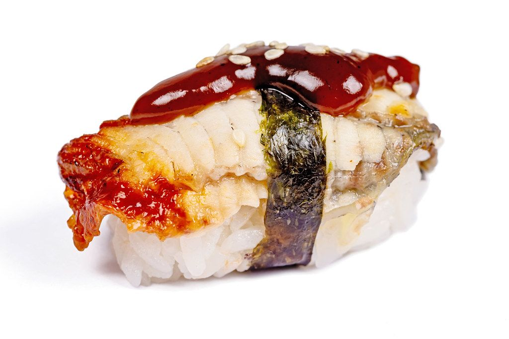 Nigiri with sea eel fillet on white background