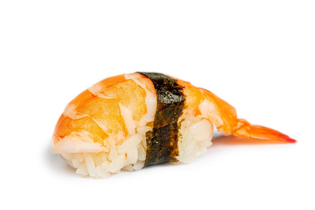 Nigiri with shrimp on a white background