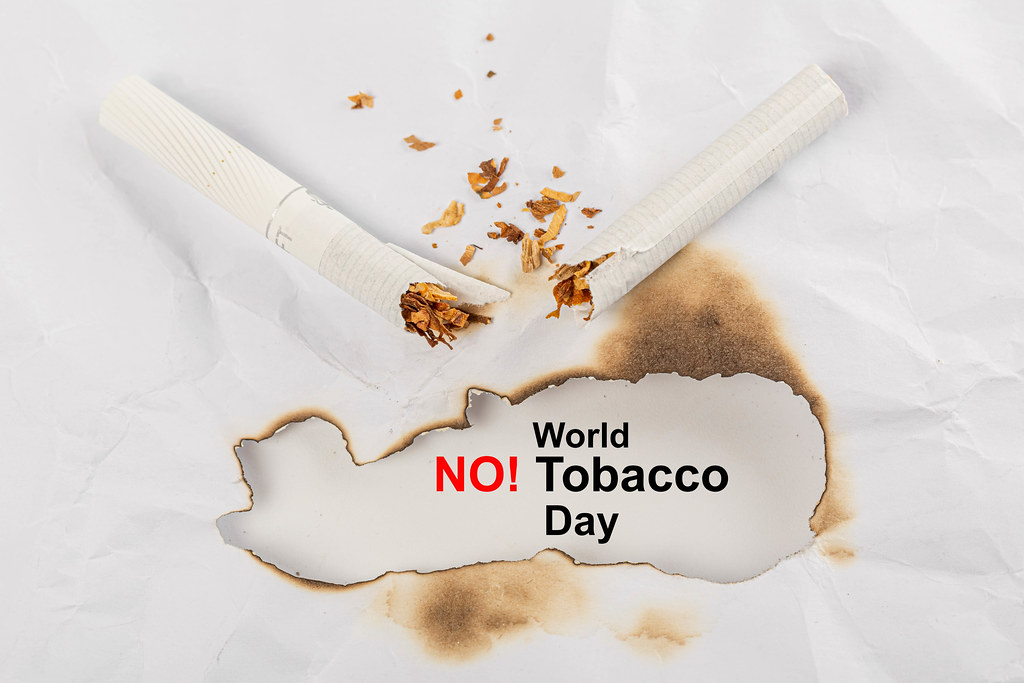 No smoking background with broken cigarette, world no smoking day concept