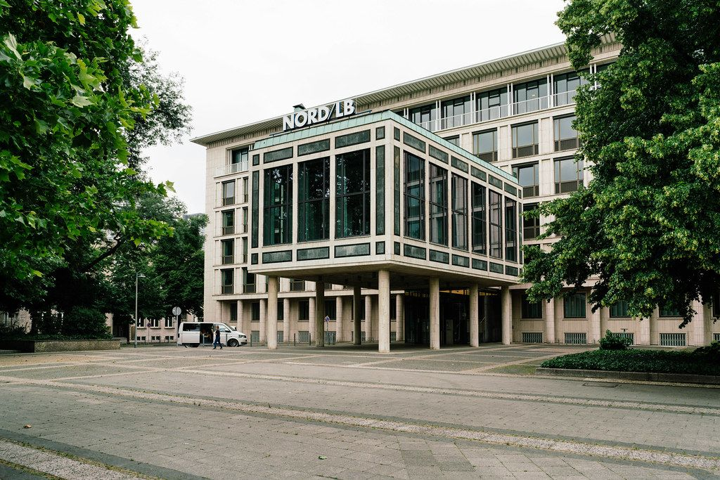 Norddeutsche Landesbank (NORD LB) building entrance in Hannover, Germany