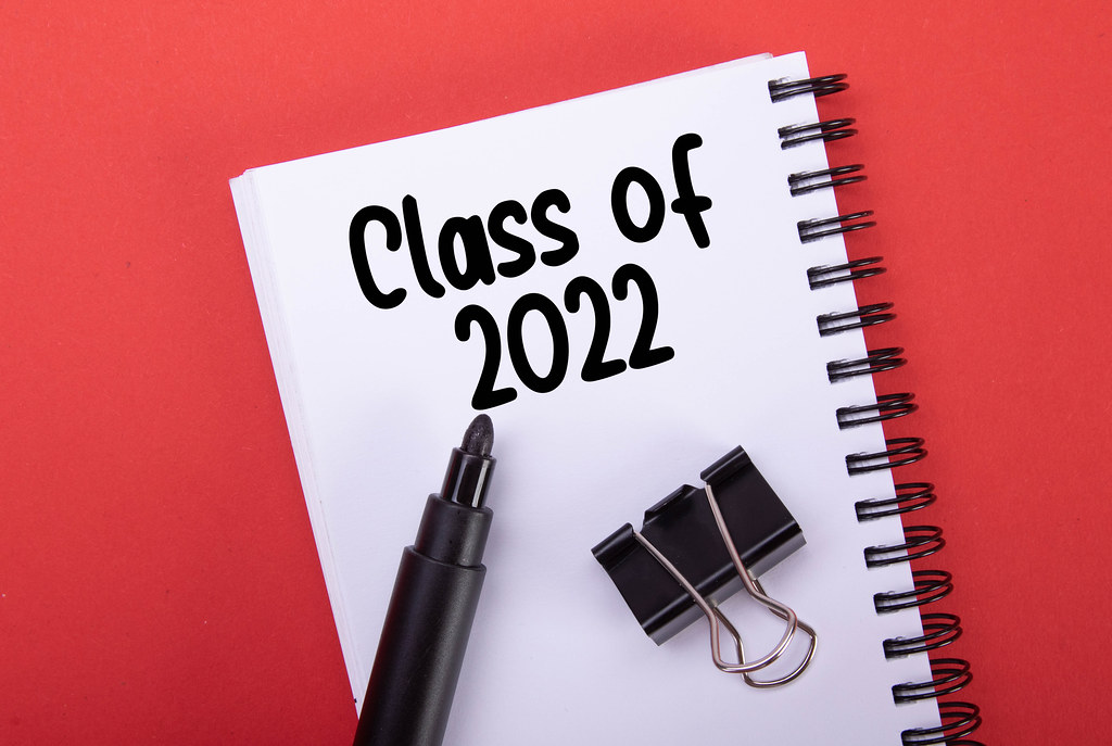Notebook with Class of 2022 text on red background
