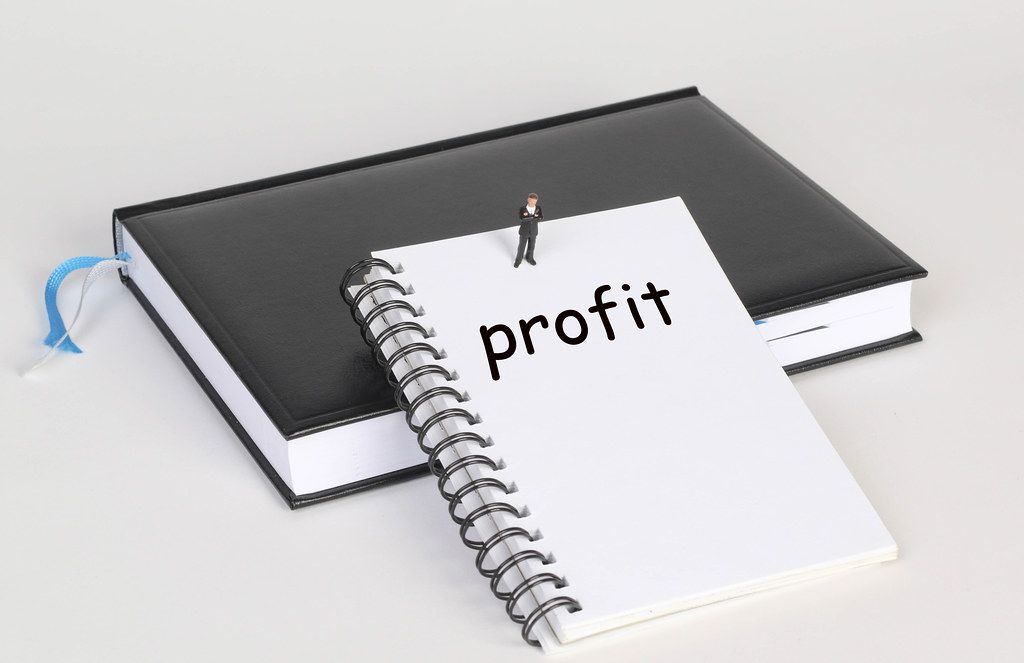 Notebook with Profit text