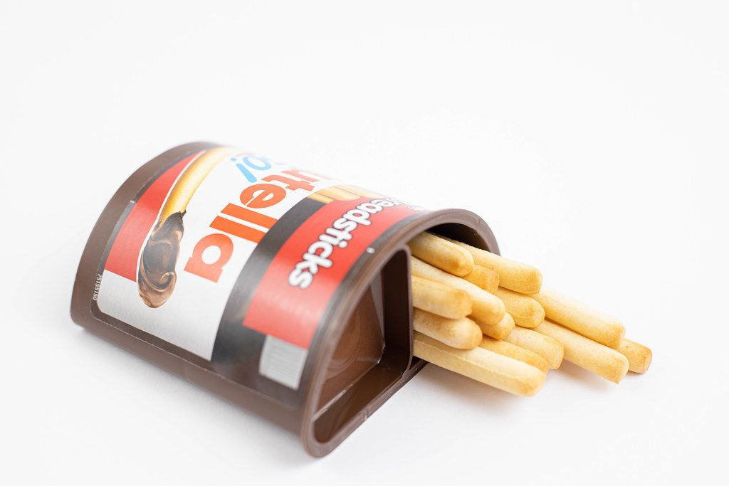 Nutella Sticks on the white background