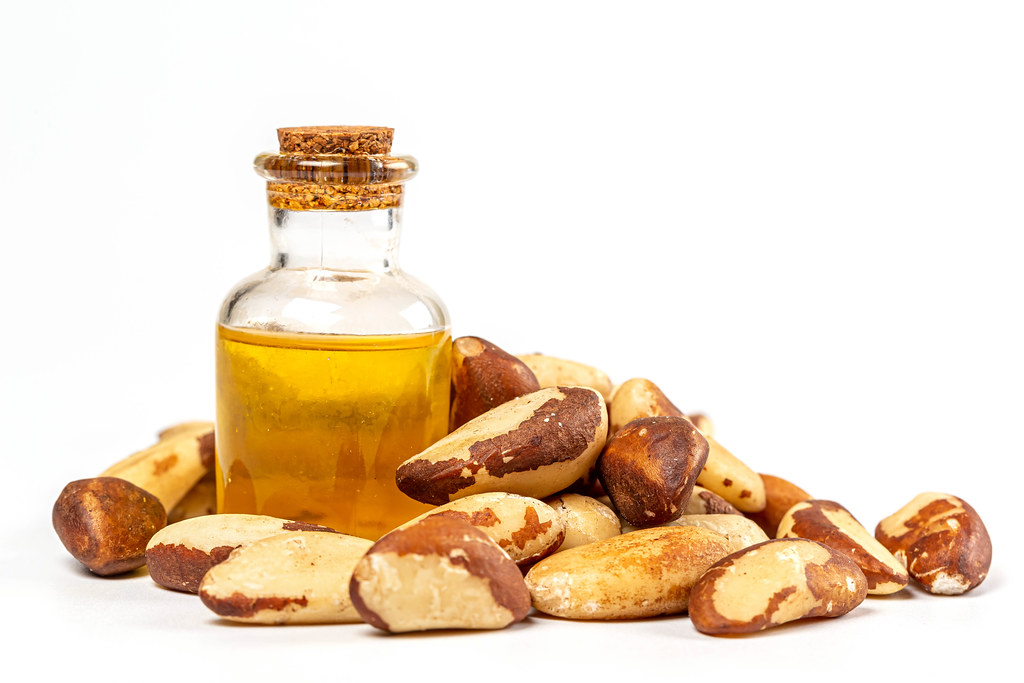 Oil bottle and pile of brazil nuts on white