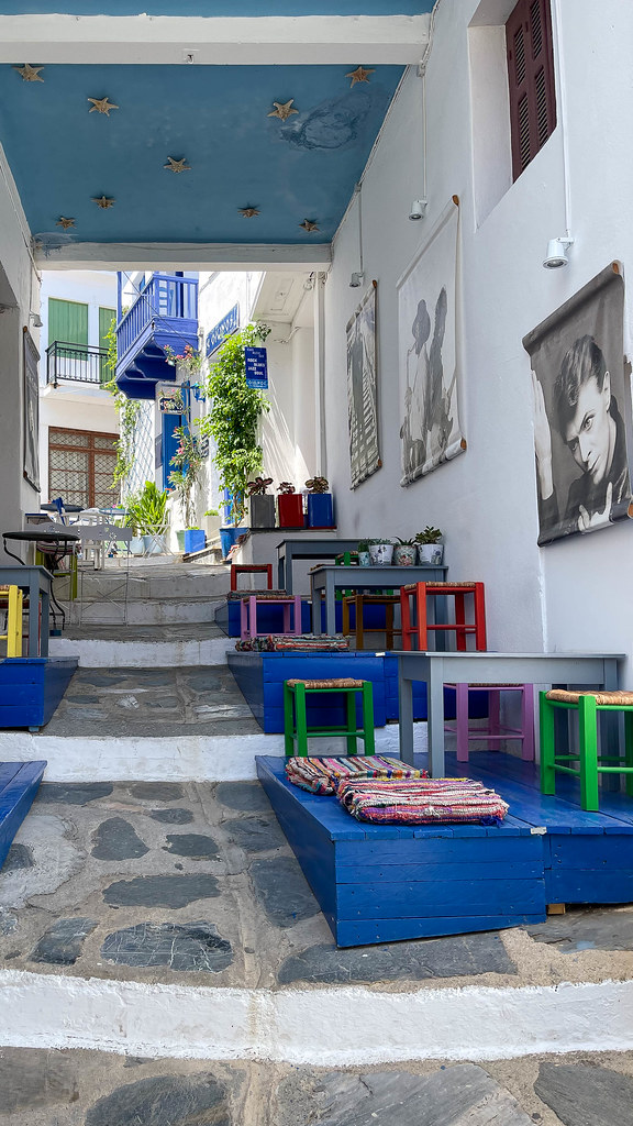 Oionos - The blue bar: live music bar in an alley of Skopelos with music posters and colourful furnishings